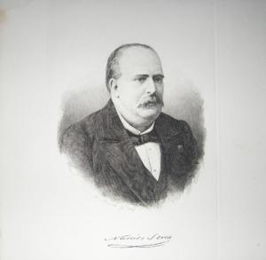 Retrato y firma de Narciso Serra
