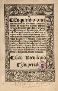 Portada del Enquiridion de Erasmo, editado por Miguel de Eguía