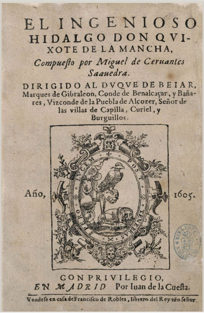 Portada de la Primera parte del Quijote (1605)