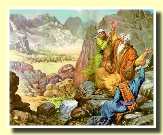Moisés con los brazos en alto