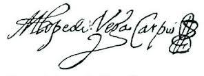 Firma de Lope de Vega con la inicial M (de Micaela) antepuesta
