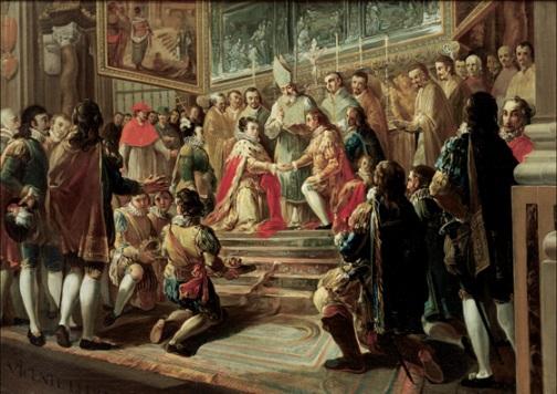 Matrimonio de Felipe III con Mariana de Austria en la catedral de Valencia, de Vicente Lluch