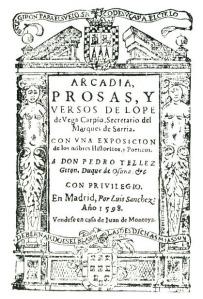 Portada de la Arcadia de Lope de Vega