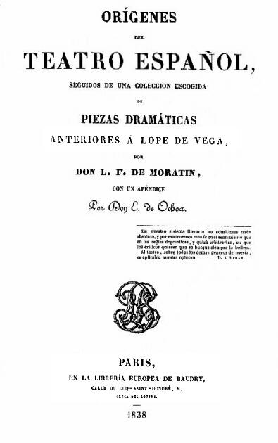 Orígenes del teatro español, de Moratín