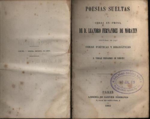 Poesías sueltas y obras en prosa de Moratin