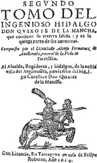 Portada del Quijote de Avellaneda (1614)
