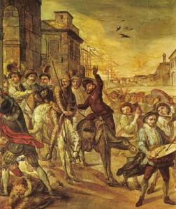 Don Quijote entrando en Barcelona