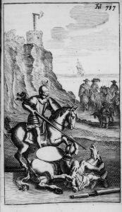 Don Quijote vencido por el Caballero de la Blanca Luna