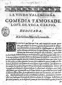 Dedicatoria de La viuda valenciana