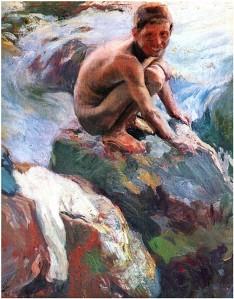 Niño en las rocas, de Joaquín Sorolla