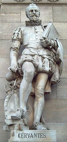 Estatua de Miguel de Cervantes en la Biblioteca Nacional de España