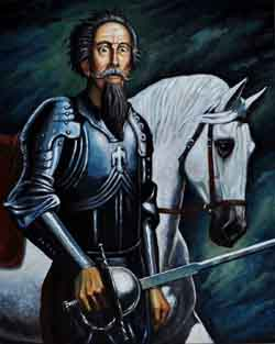 Don Quijote de la Mancha con Rocinante