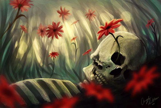 Flor creciendo en una calavera