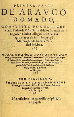 Arauco domado, de Pedro de Oña