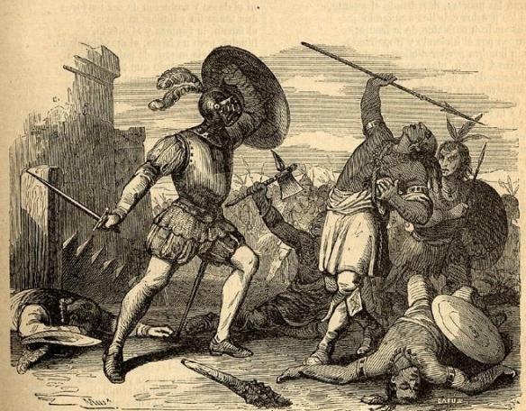 Batalla entre españoles y araucanos
