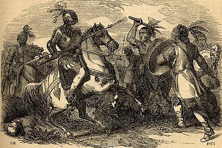 Batalla entre mapuches y españoles