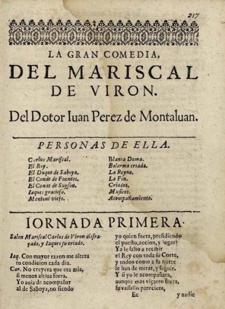 El mariscal de Virón, de Juan Pérez de Montalbán