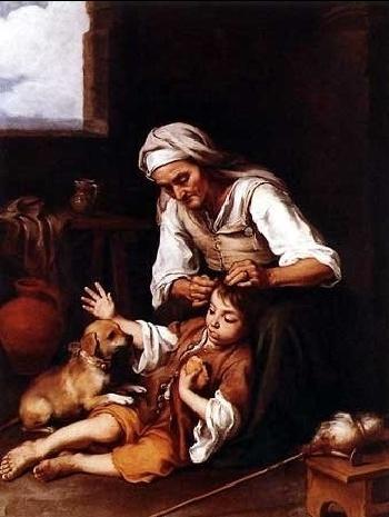 Vieja espulgando a un niño, de Velázquez