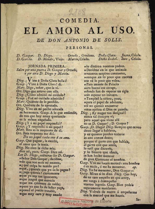 El amor al uso, de Antonio de Solís