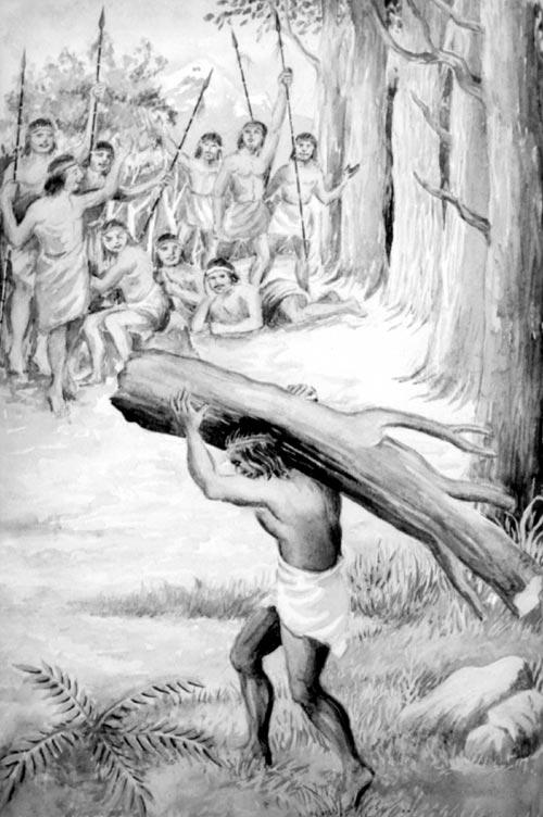 Caupolicán con el tronco a hombros