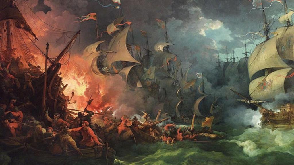 Batalla naval y navío ardiendo