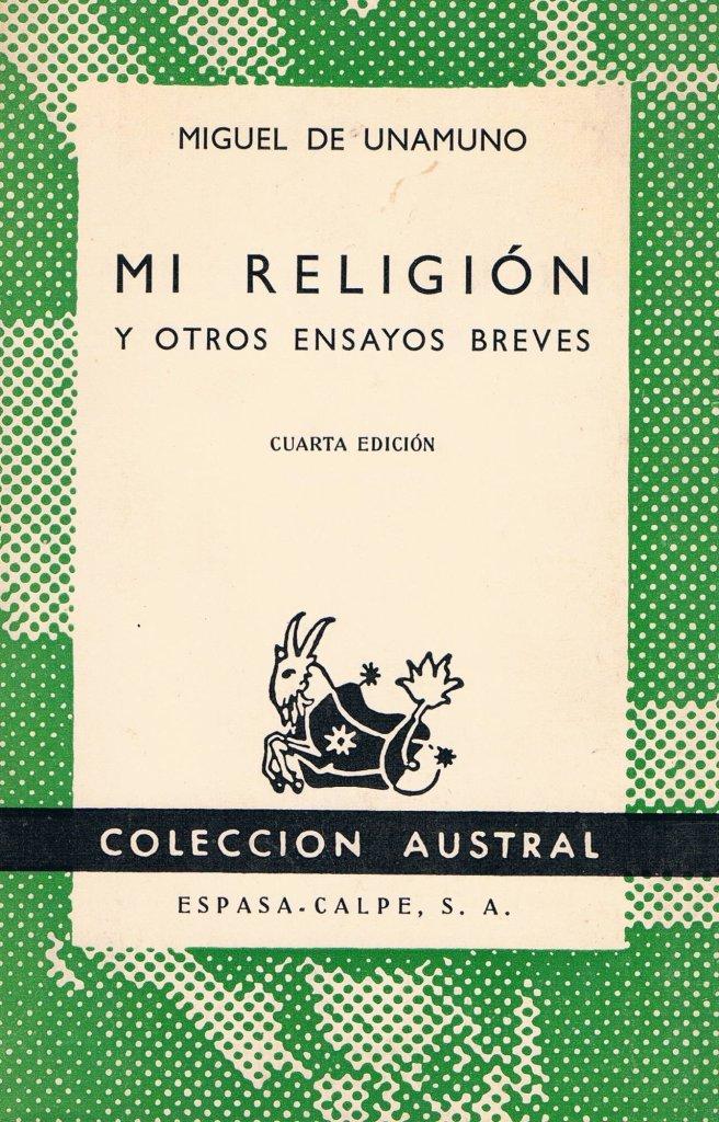 Cubierta de Mi religión, de Miguel de Unamuno